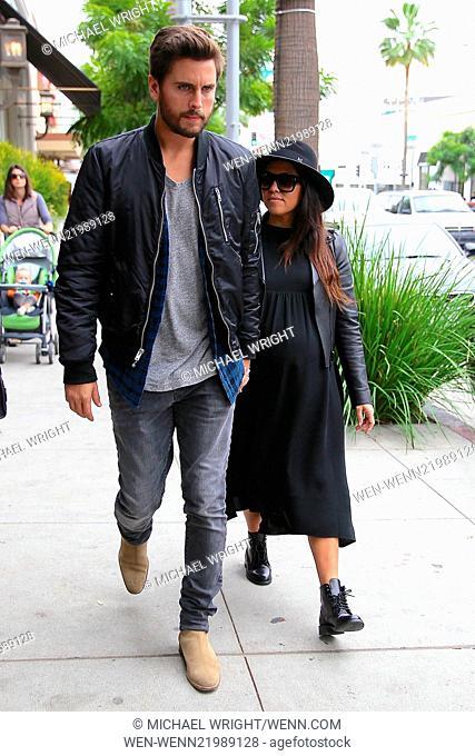 Kylie Jenner, Kourtney Kardashian and Scott Disick spotted leaving Nate 'n Al of Beverly Hills Delicatessen after having lunch together Featuring: Kourtney...