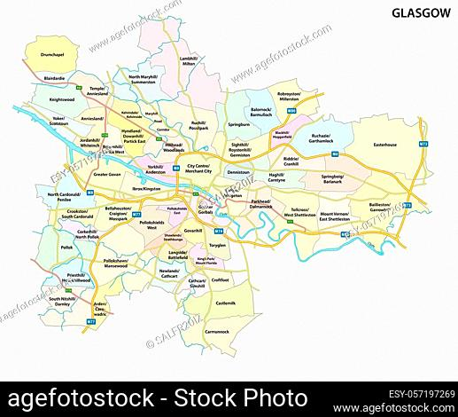 Map of the Scottish city of Glasgow with roads and all neighborhoods of the city