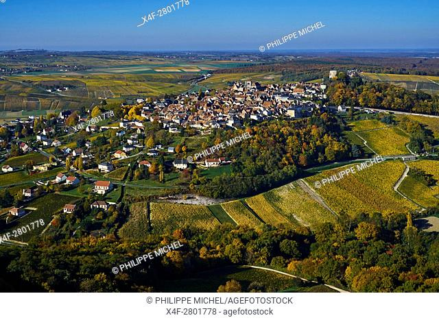 France, Cher 18, Berry, Sancerre village, vineyard in autumn, aerial view