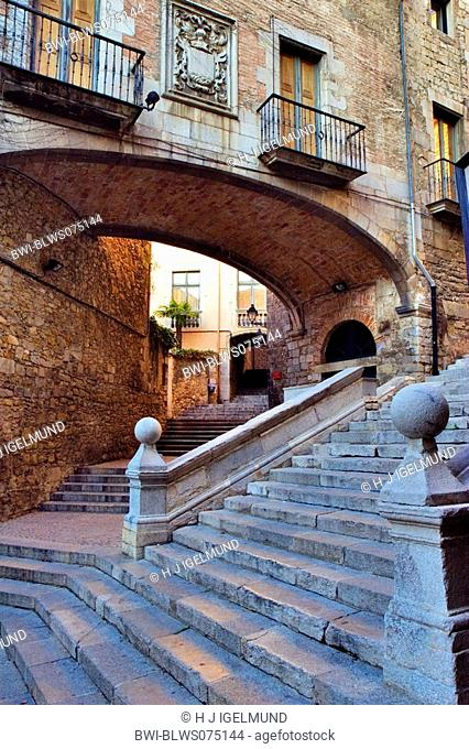 stairs in the old town, Spain, Katalonia, Girona
