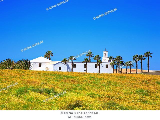 Church near small village Ye, Island Lanzarote, Canary Islands, Spain