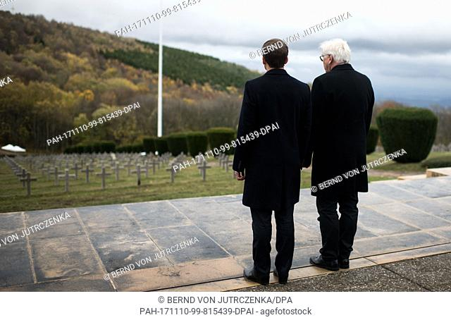 German President Frank-Walter Steinmeier and French President Emmanuel Macron take part in a memorial ceremony at the Hartmannsweilerkopf memorial site in...
