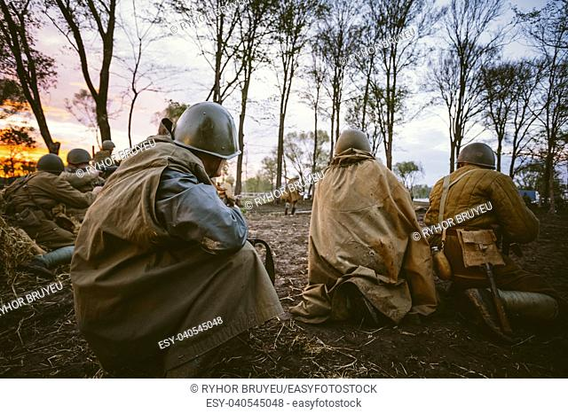 MOGILEV, BELARUS - MAY, 08, 2015: Reconstruction of Battle during events dedicated to 70th anniversary of the Victory of the Soviet people in the Great...