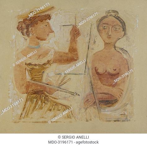 The Paintress (La pittrice), by Massimo Campigli, 1949, 20th Century, monotype
