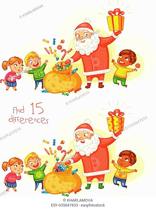 Find 15 differences. Santa Claus brings gifts to children. Merry Christmas and happy New Year. Funny cartoon character. Vector illustration