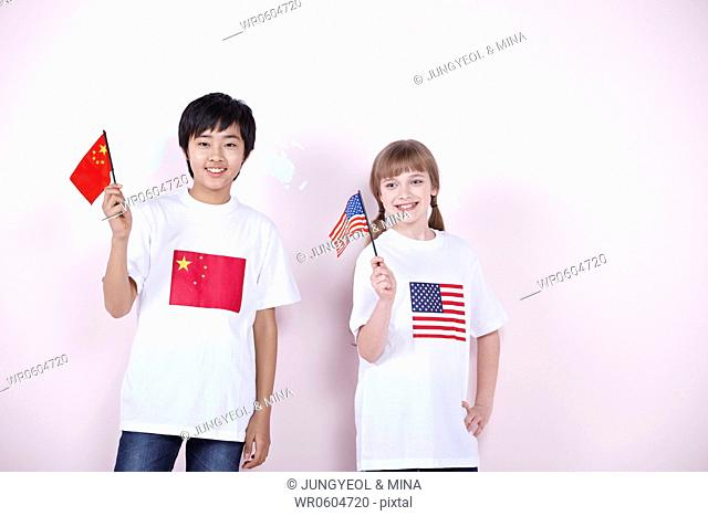 The global students with China and U.S.A. flag
