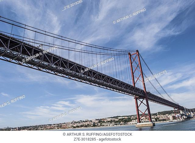 Ponte 25 de Abril (25th of April Bridge) over the Tagus River. View from cruise ship. Lisbon, Portugal, Europe
