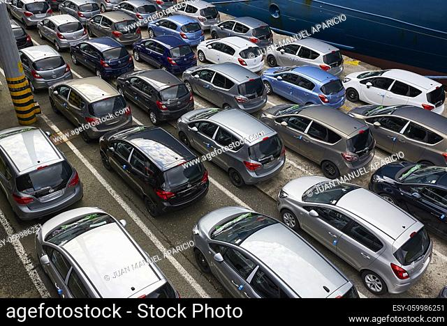 new cars waiting to be exported in the port of Pasaia, Guipuzkoa, Basque Country, Spain, Europe