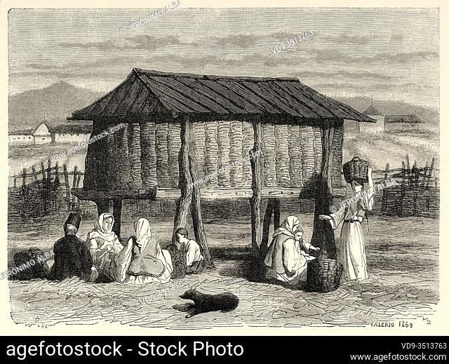 Public granary in a Croatian village, Bosnian border, Croatia. Europe, Old engraving illustration Trip land of southern Slavs by M. Perrot
