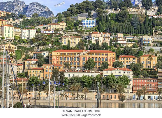 France, Alpes Maritimes, Menton, facade of Science Po campus de Menton (Institute of Political Studies)