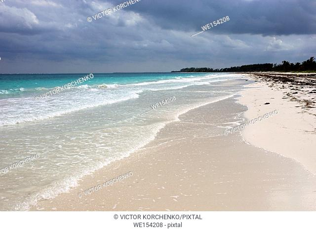 Desrted white sand beach in Sian Ka'an biosphere reserve, Quintana Roo, Mexico .