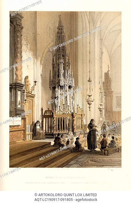 Tabernacle of the S. Jacques Church in Leuven, Sacrament container in the Jakobskirche in Leuven, Signed: F. Stroobant, del. Et lith, C