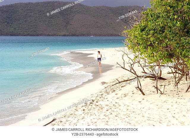 Cinnamon Bay beach scenes St John US Virgin Islands and beach comber