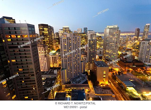 San Francisco central business district at twilight