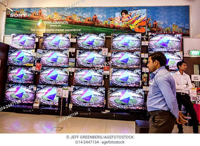 India, Asian, Mumbai, Lower Parel, High Street Phoenix, mall, inside, shopping, Big Bazaar, electronics store, wide flat screen HD2TV, tv, televisions, display