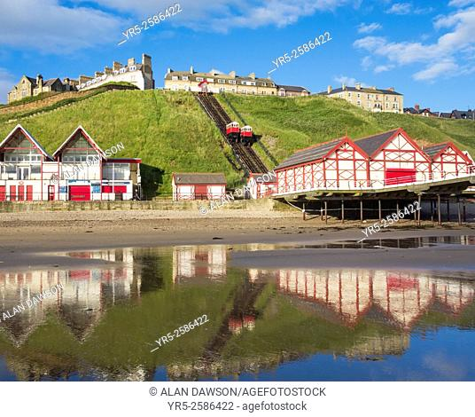 Saltburn`s Victorian pier and cliff lift. Saltburn by the Sea, North Yorkshire, England, United Kingdom