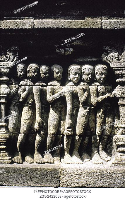1st Gallery north Balustrade detail. Borobudur, Indonesia
