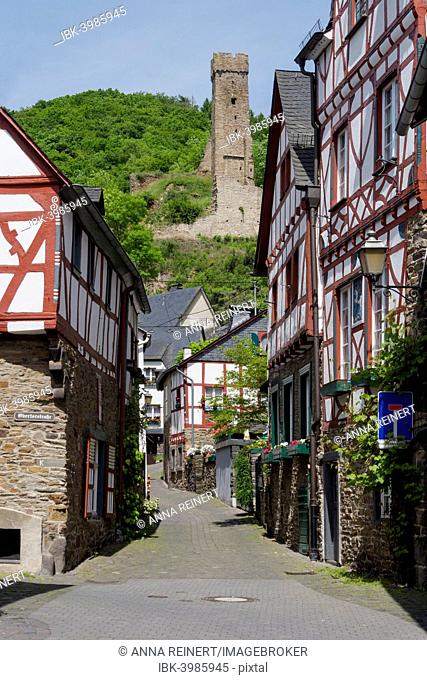 Alleyway with the ruins of Philippsburg Castle, Monreal, Eifel, Rhineland-Palatinate, Germany