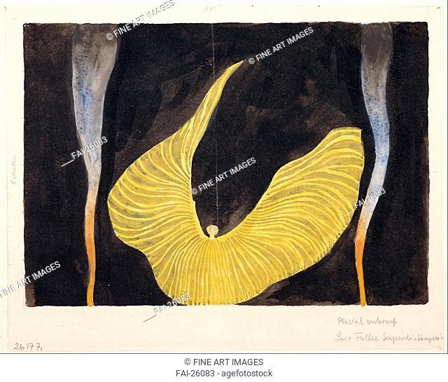 Loïe Fuller in the Dance The Archangel. Moser, Koloman (1868-1918). Watercolour and ink on paper. Art Nouveau. 1902. Austria. Albertina, Vienna