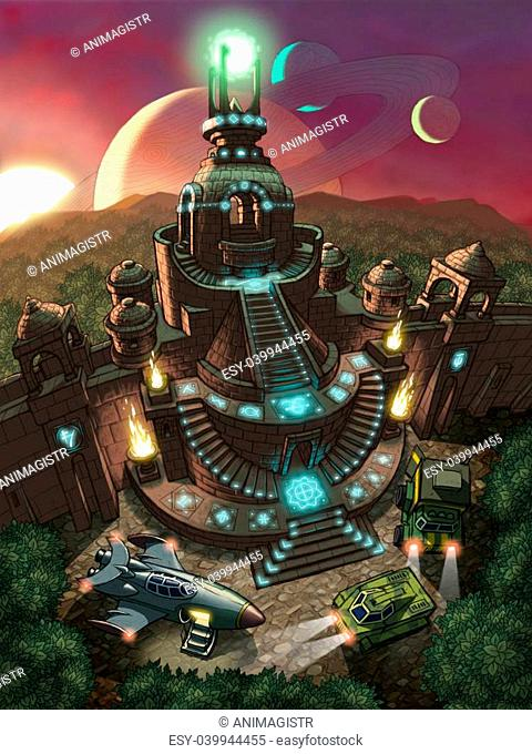 Fantactic landscape. Space rocket and two cars exploring old temple at a planet in space
