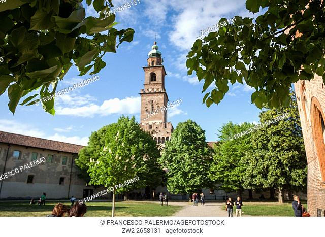 Bramante tower in a lively spring Sunday. Vigevano, Lombardy. Italy