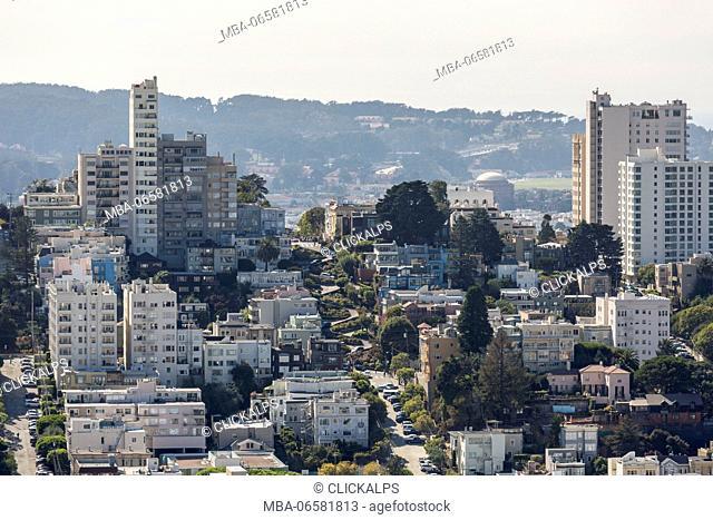 Cityscape with Lombard Street, San Francisco, Marin County, California, USA