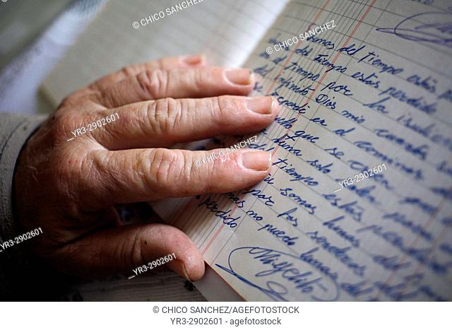 Poet and writer Joaqu'n Vazquez Manzano 'Miyelito' reads his poems in Prado del Rey, Sierra de Cadiz, Andalusia, Spain