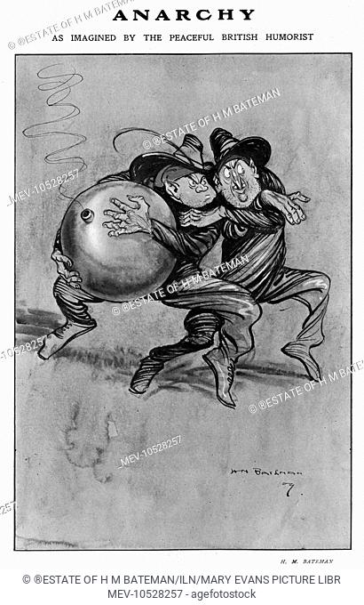 Anarchy, 'as imagined by a peaceful British humorist' (H. M. Bateman) showing two mischievous rather than menacing anarchists with a large comedy style bomb...