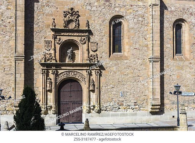 Entrance to the Convento de las Duenas is a female convent of the order dominica located in the city of Salamanca, Castilla y Leon, Spain, Europe