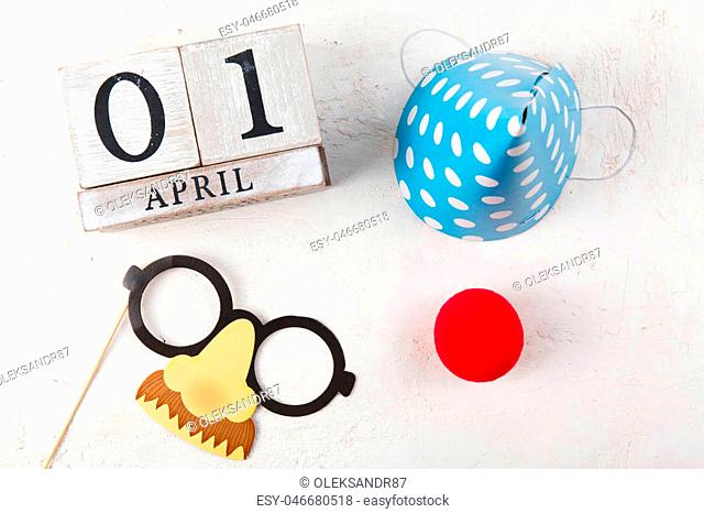 Block calendar on white background. Fools day