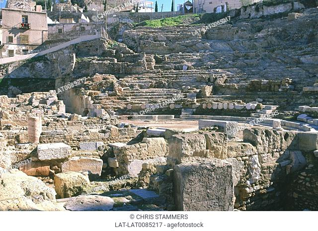 Costa Calida. Roman amphitheatre site. Excavations. Tunnels