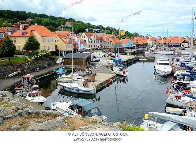 The harbor in Gudhjem village, Bornholm, Denmark