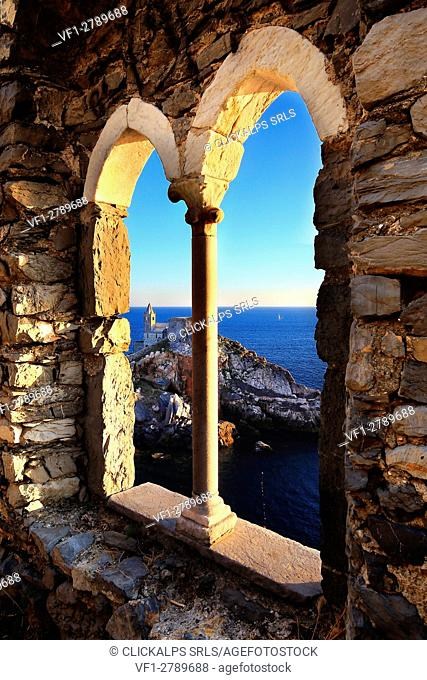 Portovenere - View of the St. Peter Church from the ancient window of the Castle, Liguria, italy