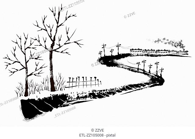 Sketch of railroad on white background