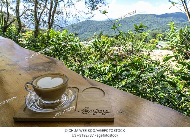 Cappucino and hilltop view at Hmong's Hilltribe Village, Doi Pui, Chiang Mai, Thailand