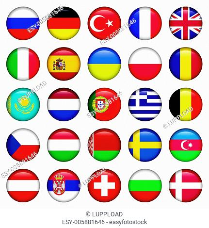 European Icons Round Flags