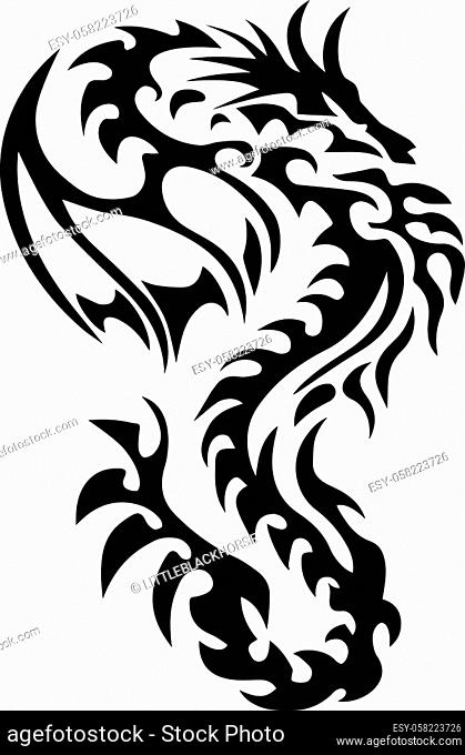 Tattoo dragon drawing tribal How To