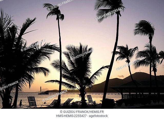 France, Martinique, Sainte-Anne, Pointe du Marin beach at sunset