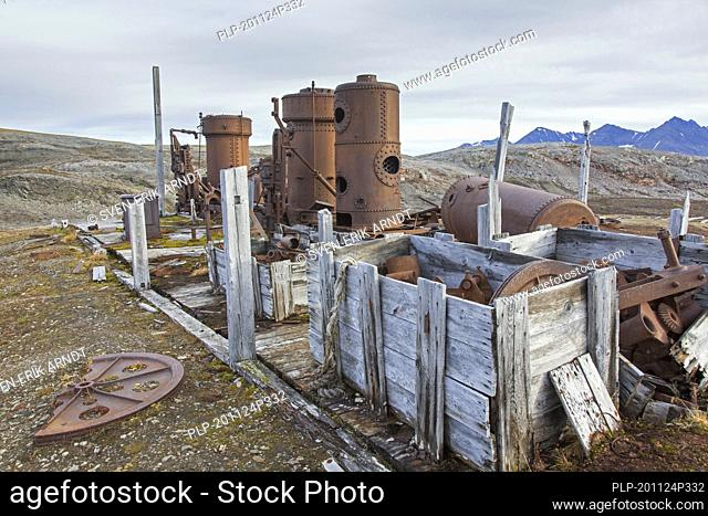 Steam boilers at abandoned marble quarry Camp Mansfield / Ny London near Ny-Alesund, Blomstrandhalvøya, Kongsfjorden, Svalbard / Spitsbergen, Norway