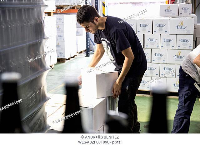 Man packing beer bottles in boxes