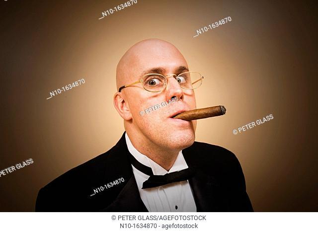 Middle-age bald man in a tuxedo, smoking a cigar