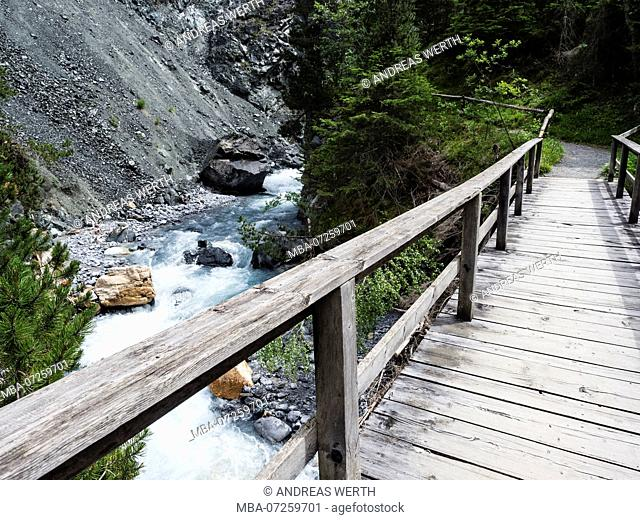 Gorge of river Clemgia, tributary stream of river Inn, near Scuol, Engadin, Switzerland