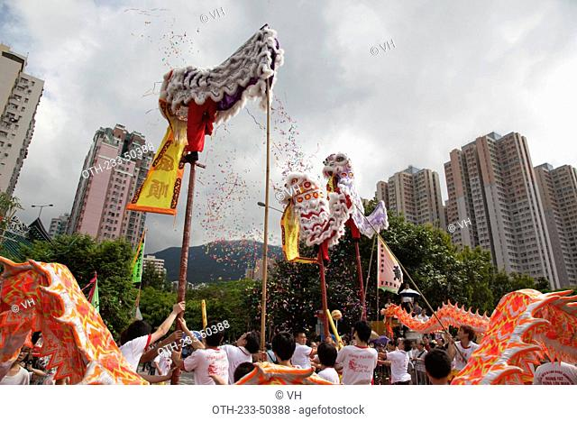 Dragon dance & lion dance celebrating Tam Kung festival at Tam Kung temple, Shaukeiwan, Hong Kong