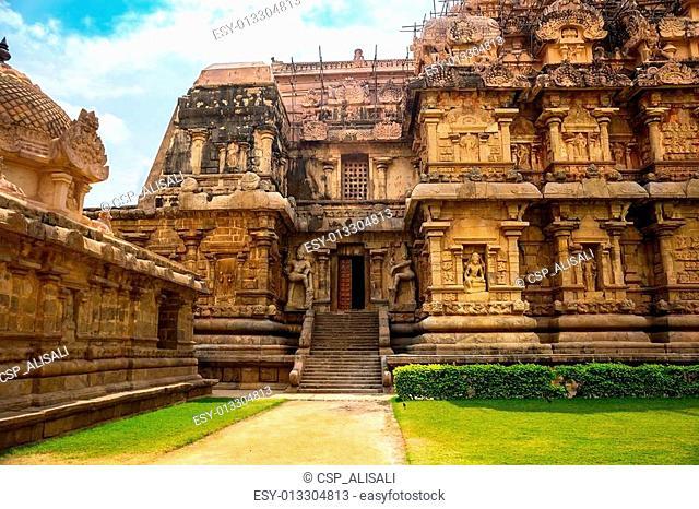Great architecture of Hindu Temple dedicated to Shiva, entrance at ancient Gangaikonda Cholapuram Temple, India, Tamil Nadu, Thanjavur