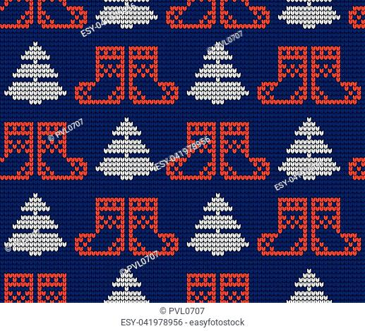 Knitted Christmas and New Year pattern vector for print