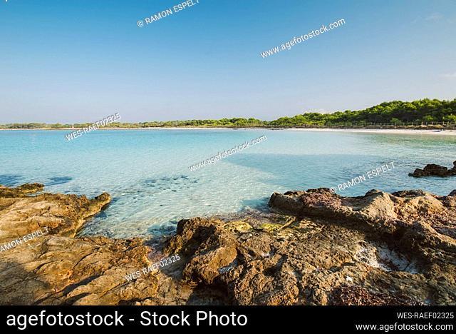 View of Son Saura beach, Menorca, Spain