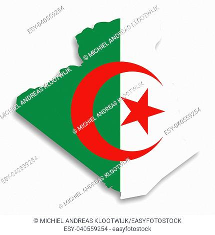 Map of Algeria filled with flag, isolated