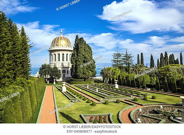 Shrine of the Bab in Bahai Gardens at Mount Carmel in Haifa, Israel, Middle East