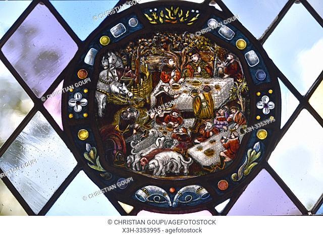 medaillon des vitraux du chateau, Domaine royal de Chateau-Gaillard a Amboise, Touraine, departement Indre-et-Loire, region Centre-Val de Loire, France