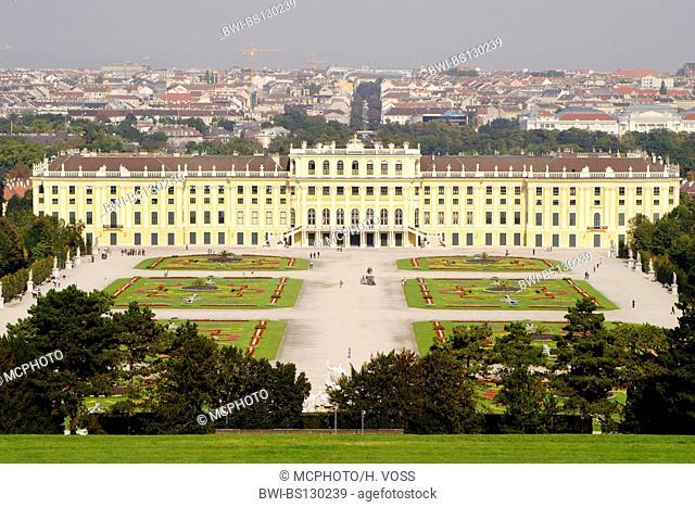 Castle of Schoenbrunn with palace garden, Austria, Vienna